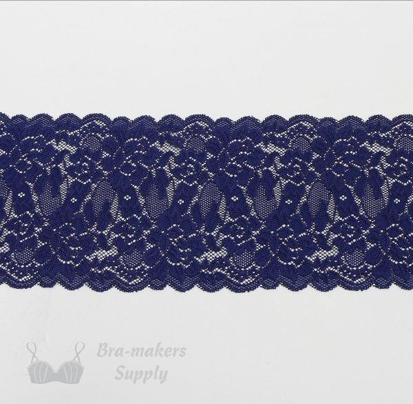 six inch navy stretch lace