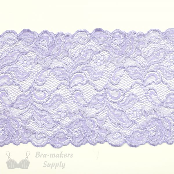 lilac stretch lace rose design
